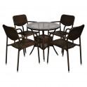 Кръгла градинска маса и четири стола