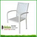 Градински стол 59-2 бял ратан