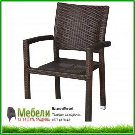 Градински стол от кафяв ратан